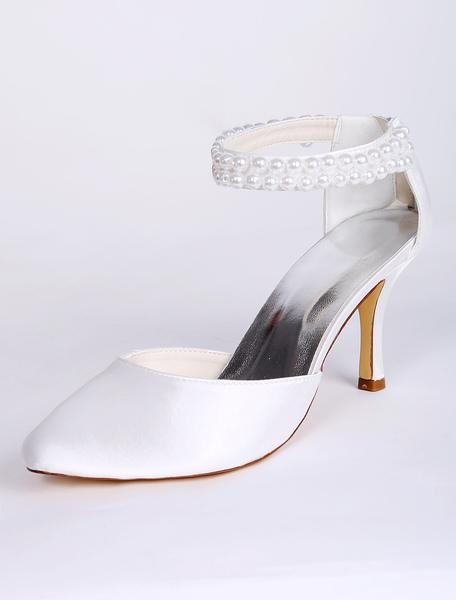 Brautschuhe mit Fesselriemchen und Perlen-Applikatin in Weiß