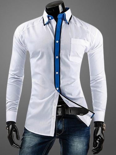 Cotton Shaping Long Sleeves Turndown Collar Casual Shirt