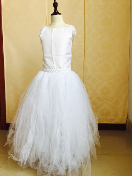 White A-Line Lace Tulle Matte Satin Flower Girl Dress