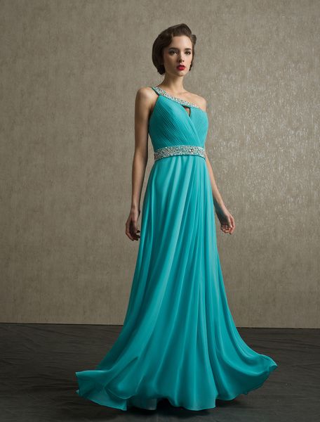 A-line Blue Pleated Chiffon Prom Dress with One-Shoulder