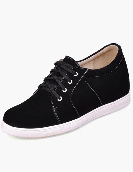 Повседневная черная замша на шнуровке мужские Высота увеличения обувь