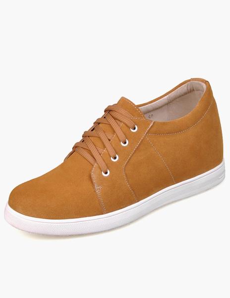 Уникальный желтый замша на шнуровке высоты резиновая подошва мужской увеличение ботинок