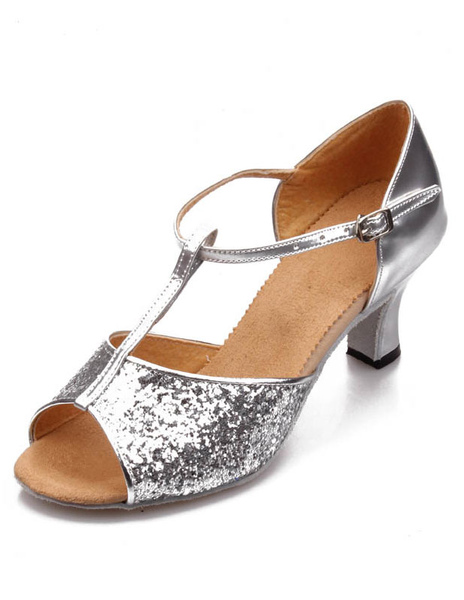 Silver Ankle Strap Sequins Latin Dance Sandals Ballroom Shoes
