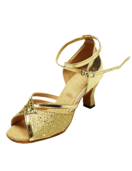 Gold Peep Toe Metallic Ankle Strap Sequined Cloth Stylish Latin Dance Shoes