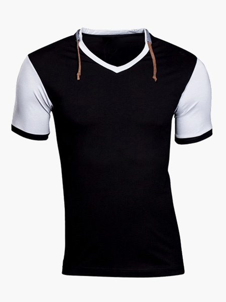 V-Neck Short Sleeves Cotton Daily Cool T-Shirt фото