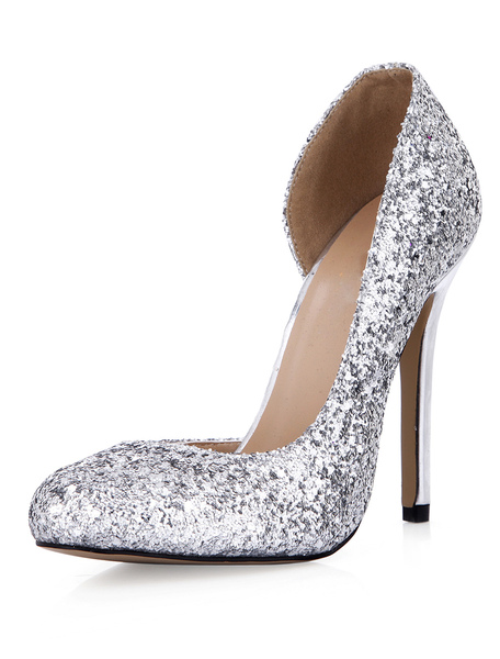 Silver Sequined Cloth Round Toe Stiletto Heel Sexy High Heels For Woman фото