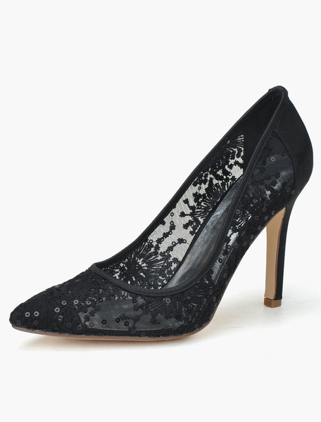 Chaussures mariée talon aigus aigus dentelle creusé