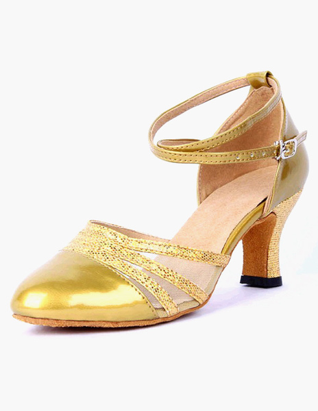 Pointed Toe Ankle Strap PU Leather Professional Ballroom Shoes фото