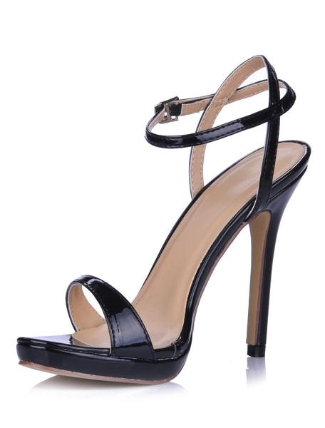 Sandales à talons aigus sexy en cuir verni rubans aux chevilles