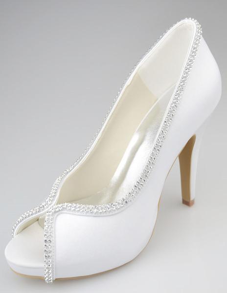 Sparkling Stiletto Heel Peep Toe Silk And Satin Fashion Woman's Wedding Shoes фото