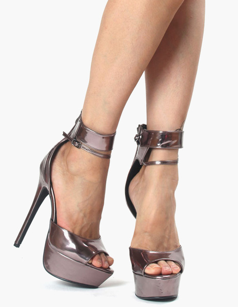 Metallic Zipper Peep Toe Glazed PU Gray Platform Sandals фото