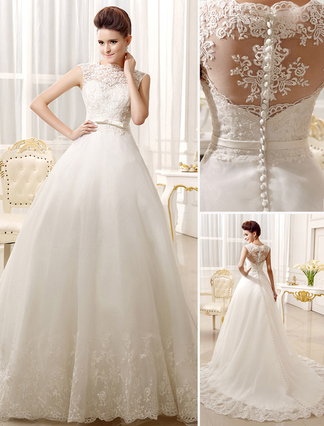 Ivory Sash Bows Lace A-Line Wedding Dress for Women фото