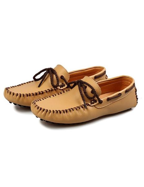 Мужская воловьей кожи мокасины зашнуровать круглый носок Повседневная обувь