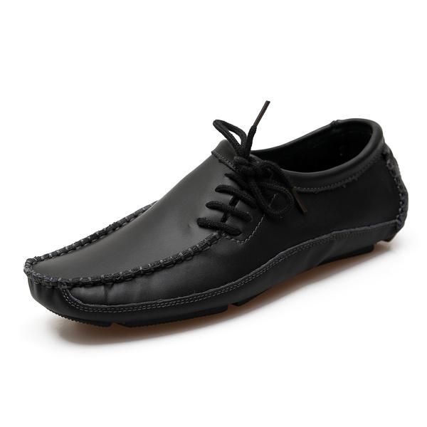 Черная кожа мокасины мужские поскользнуться на круглым носком мокасины