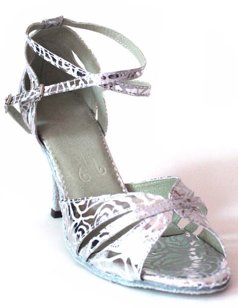 Argento scarpe latino della caviglia cinturino PU donna