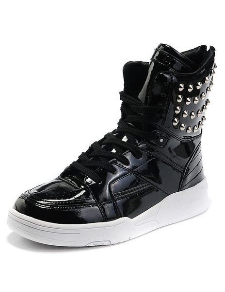 Rivet Round Toe Faux Leather Sneakers Milanoo