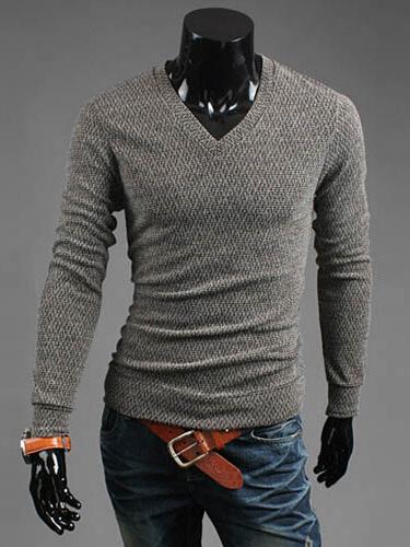 Умное V-Образным Вырезом Хлопок Пуловер Свитер