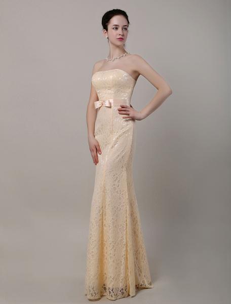 Trumpet/Mermaid Strapless Sweatheart Floor-Length Lace Bridesmaid Dress фото