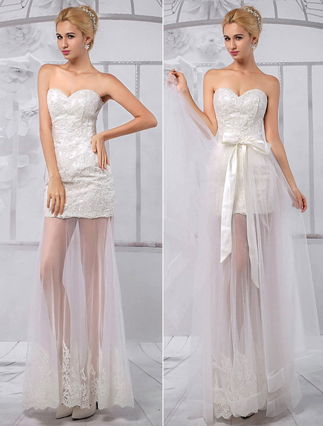 Strapless Sheath Sweetheart Lace Wedding Dress With Tulle Overskirt фото
