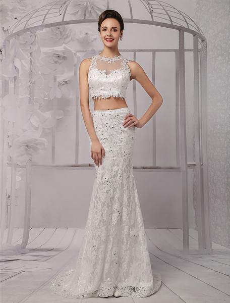 Two Piece Crop-top Illusion Neckline Lace Mermaid Wedding Dress Milanoo фото