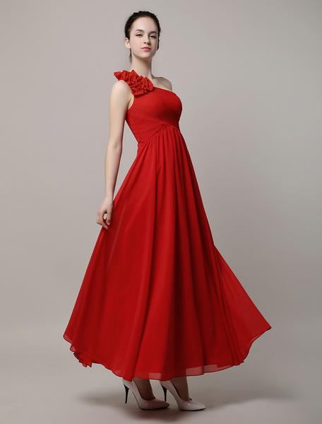 A-Line Chiffon One Shoulder Floor-Length Bridesmaid Dress