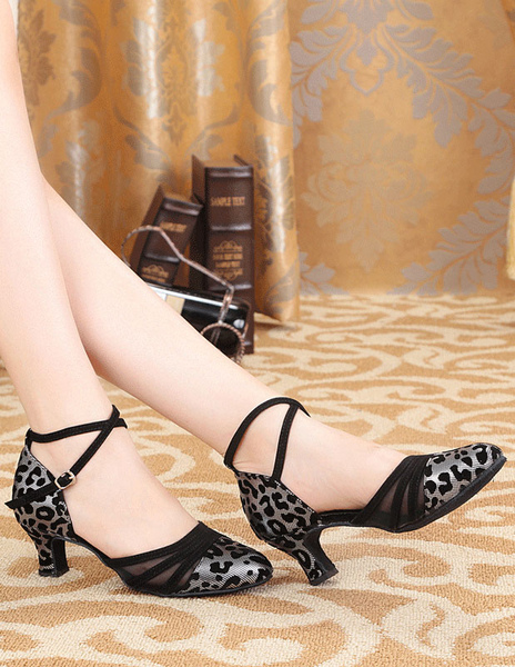 Fashion Black Ankle Strap Round Toe Suede Leather Ballroom Shoes