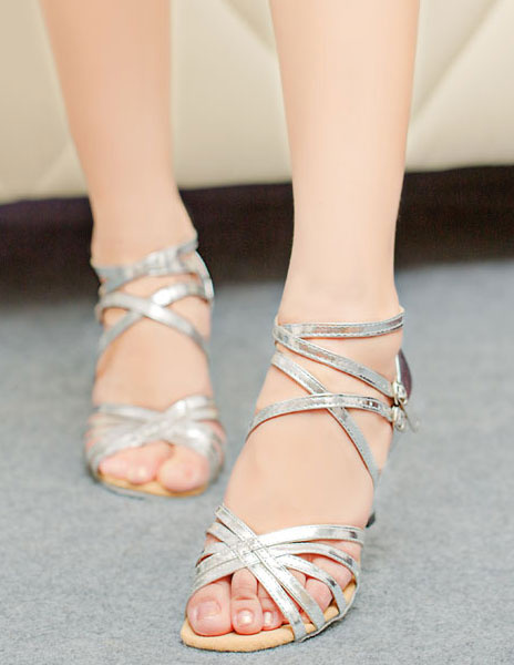Stylish Ankle Strap Open Toe PU Leather Ballroom Shoes