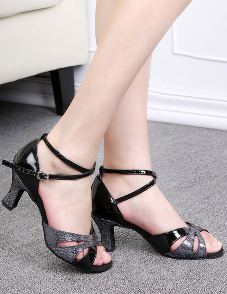 Unique Ankle Strap Open Toe PU Leather Ballroom Shoes