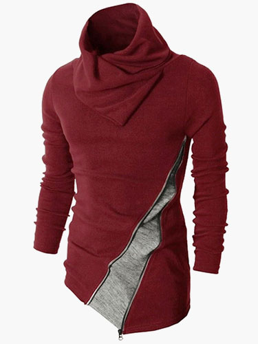 Отложным Воротником Длинные Рукава Разноцветный Хлопок Смесь Повседневный Пуловер Свитер Для Мужчин