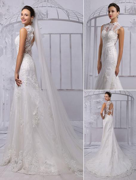 Glamouröses Etui-Brautkleid aus mit Halskragen und Spitzen Mit Schleppe in Elfenbeinfarbe