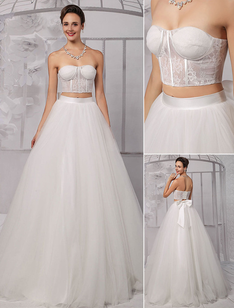 Two-Pieces Strapless Lace Corset Crop Top Ball Gown Wedding Dress With Tulle Skirt Milanoo