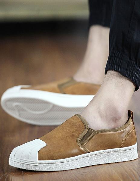 Milanoo / Zapatos chic ronda Toe PU cuero mocasín