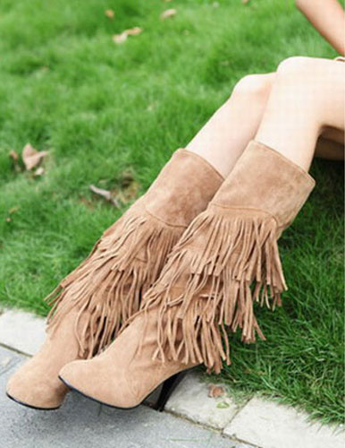 Round Toe Stiletto Heel Fringed Micro Suede Upper Knee Length Boots фото