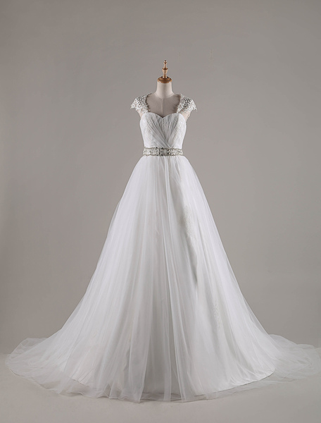 Ball Gown Sweetheart Chapel Train Tulle Wedding Dress With Beading Appliques Lace Sequins