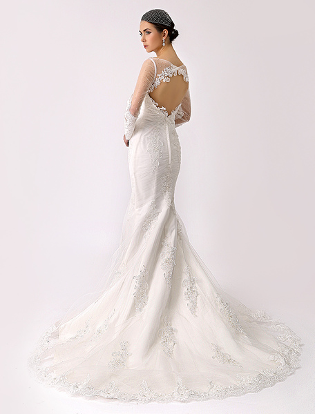 Illusion Neck Trumpet Lace Bridal Gown with Open Back Milanoo фото