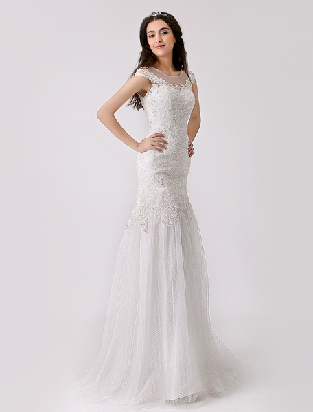 Lace and Tulle Trumpet Wedding Gown with Illusion Neckline Milanoo
