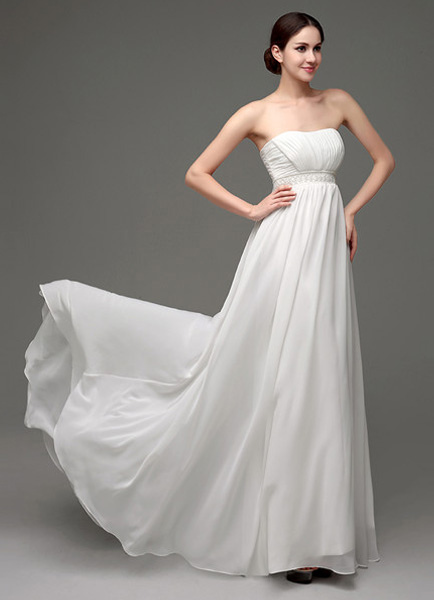 Strapless Chiffon A-Line Empire Waist Wedding Gown With Pearl Belt фото