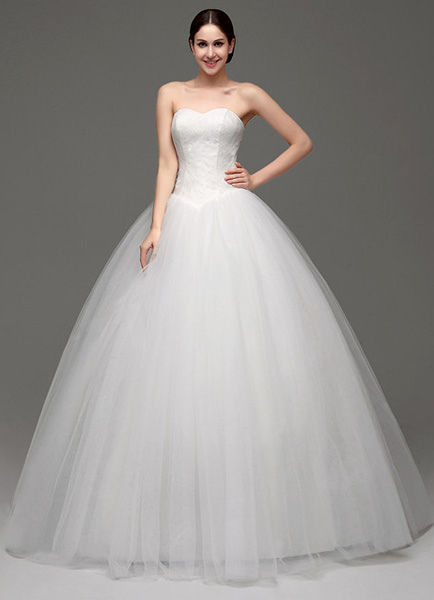 Tulle Ball Gown/Princess Strapless Sweatheart Wedding Dress With Lace Bodice фото