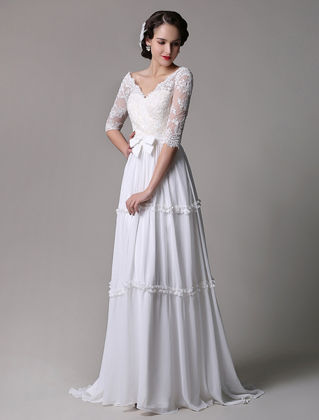 Boho Wedding Dress Vintage A-Line Lace Chiffon Half Sleeves V-neck Backless Boho Wedding Dress