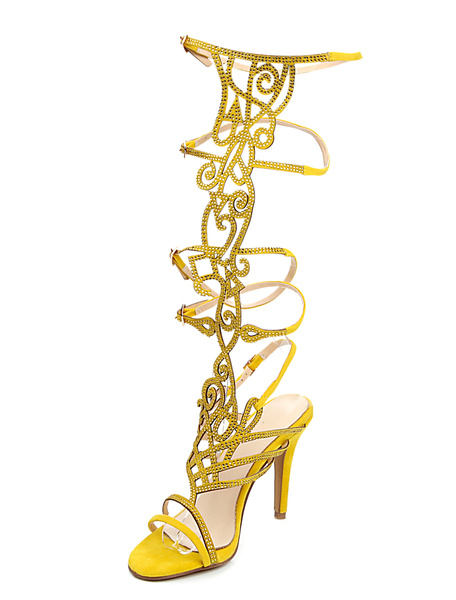 Chic Yellow Terry Stiletto Heel Fashion Gladiator Sandals фото