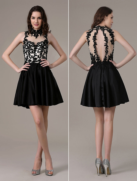 Black Sheer Lace Jewel Neck Satin Homecoming Dress фото