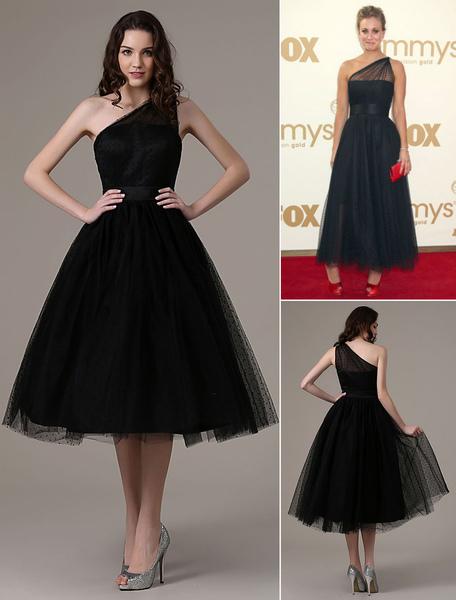 Black Prom Dresses 2017 Short Cocktail Dress Laley Cuoco Emmys Polka Dot One Shoulder Ankle Length T фото