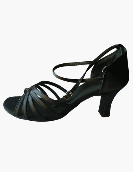 Black Open Toe Ankle Strap Ballroom Shoes