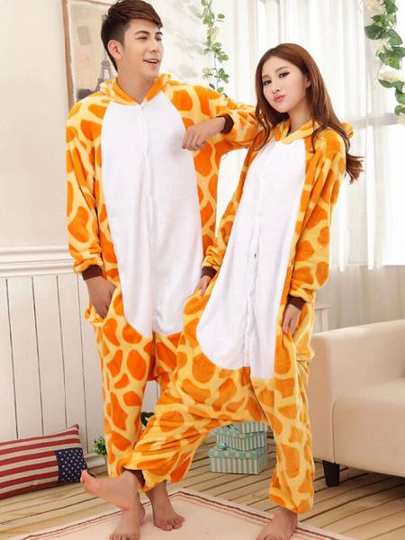 Kigurumi Pajamas Giraffe Onesie For Adult Flannel Animal Couple Costume фото