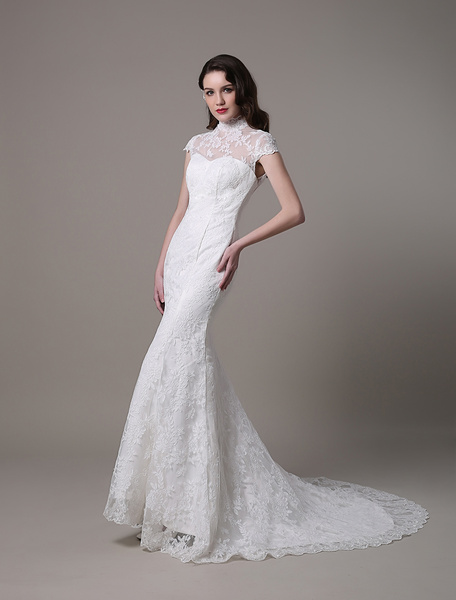 Vintage Lace Wedding Dress With High Neck Cap Sleeves And Keyhole Back Milanoo фото