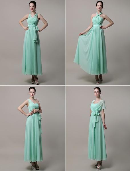 A-line Floor-length Chiffon Convertible Bridesmaid Dress