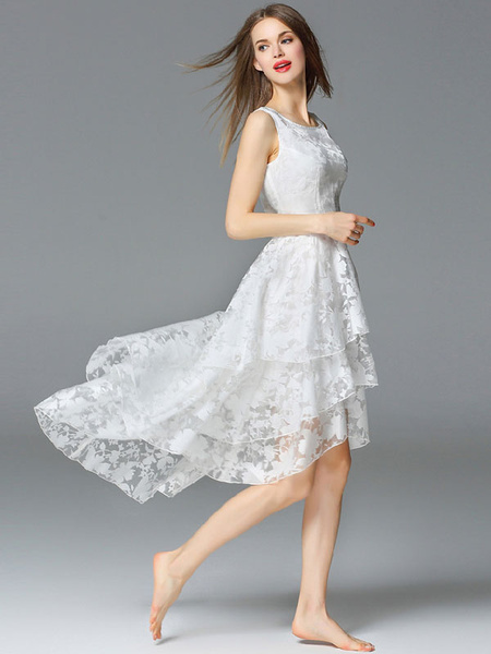 Tiered Mullet Dress Sleeveless Organza Party Dress фото