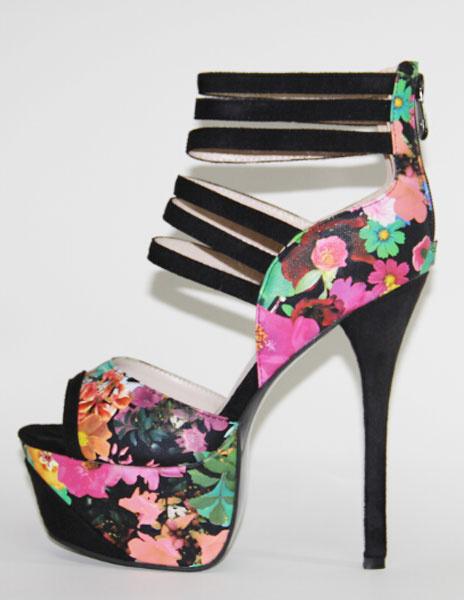 Sexy Sandalen Reißverschluss gedruckt hohe Plateau Stiletto Heels