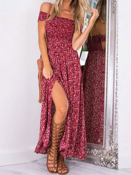 Off The Shoulder Maxi Dress In Bohemia Style фото