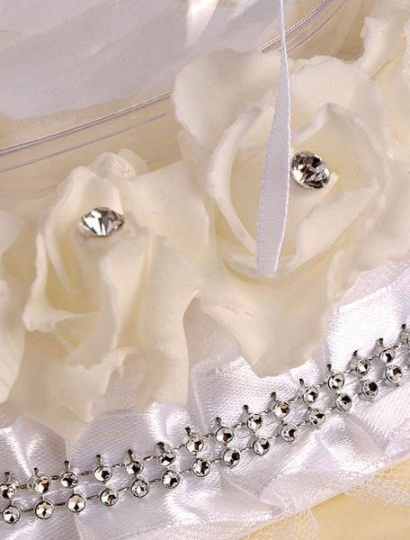 Image of Sposa in raso cuscino Sash Bow decorazione di strass per la festa di nozze